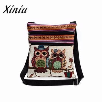 Xiniu Womens large Capacity Bags Female animal crossing Owl Embroidery patchwork bag bolsas de grife #LREW