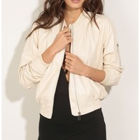 Jackets/Vests > Bomber Jacket In Pearl Faux Leather