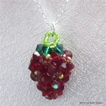 Dark Red Crystal and Gold Beaded Strawberry Bead Necklace