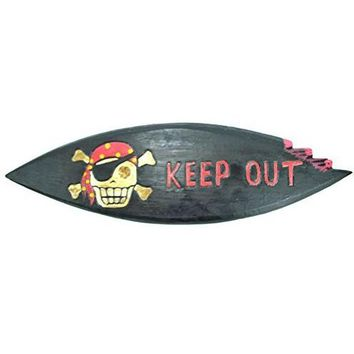 """LG 20 inch Hand Carved Wood Pirate Skull Cross Bone """"KEEP OUT"""" Sign Plaque Wall Art Decor"""