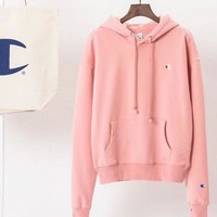 Champion Women Fashion Velvet Embroidery Hoodie Top Sweater Pink