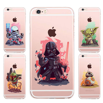 Cover Fundas For Apple iPhone 5 5S SE 6 6S 7 Plus 6sPlus Soft Shell Back Cover Case The Star Wars Yoda Darth Vader R2D2 i6s Capa