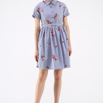 All in Bloom Floral Embroidered Stripe Dress in Blue