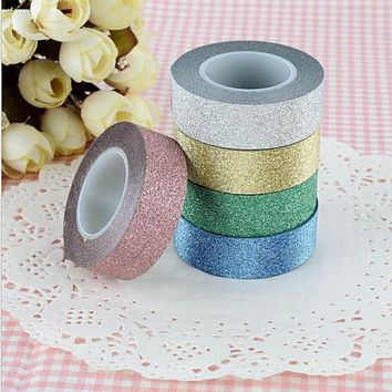 15mm*10m Glitter Washi Tape Set Japanese Stationery Scrapbooking Decorative Tapes Adhesive Tape Kawai  Adesiva Decorativa