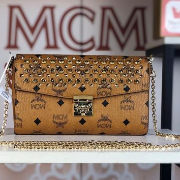 Kuyou Gb79810 Mcm Women's Patricia Brown Crossbody Wallet In Studded Park Avenue Leather 23.5x13.5x5cm