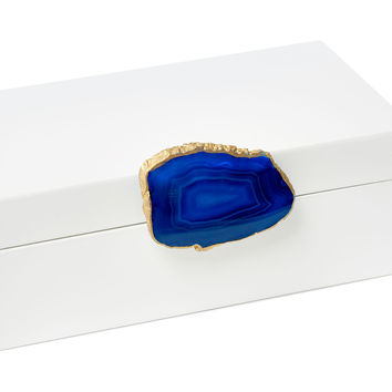 White Box w/ Blue Agate Knob, Medium, Boxes