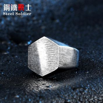 steel soldier high polish hexagon fashion ring stainless steel angle unqiue biker jewelry for men and women