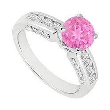 Pink Sapphire and Diamond Engagement Ring 14K White Gold  1.10 CT TGW