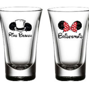 Disney Inspired Shot Glasses, Disney Bridal Party Shots, Wedding Party Shots