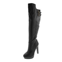 Material Girl Womens Rozie Faux Leather Buckle Knee-High Boots