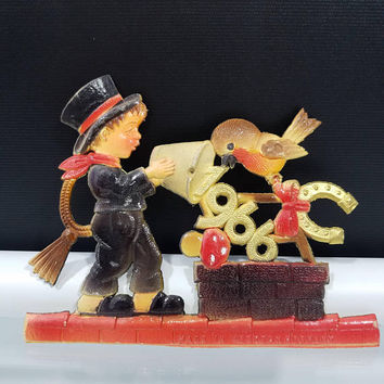 1966 New Years Eve Sylvester Good Luck Sign Symbolic Plaque German Die Cut Chimney Sweep Horseshoe  Red Fly Mushroom