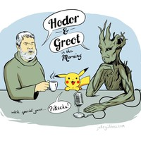 Hodor & Groot Talk Show, an art print by Jake Giddens