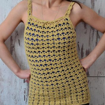 Summer festival top, crochet lace tank top, mustard top, coachella top, lace beach coverup, boho crochet top, rave outfit, beachwear sexy