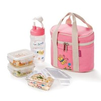 Lock&Lock BOROSEAL Borosilicate Glass Baby Lunch Box with Pink Bag and Water Bottle