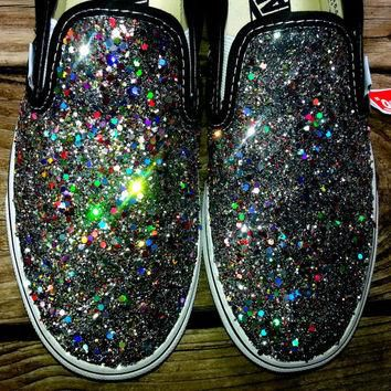 HOLOGRAPHIC SILVER rainbow glitter VANS slip on crystal multicolor costume black shoes