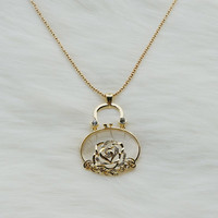 Long gold necklace with white jade rose reticule  pendant,Gold plated necklace,Long necklace,Fashion necklace,Prom necklace,Unique necklace