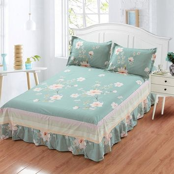 Cool Princess Style Ruffled Tulle Bedding sets Bed Skirt Bedsheet Twin Full Queen King size Coverlet white blue Flower pillowcaseAT_93_12