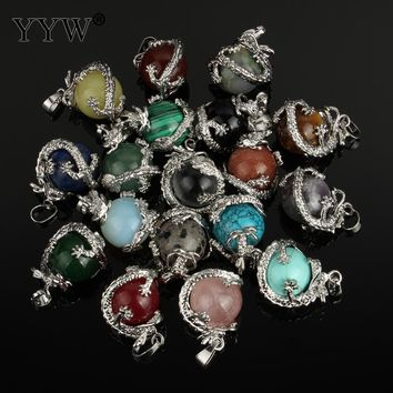Natural Quartz Opal Stone Pendants gem stone dragon claw Crystal Wrapped Drop Shaped pendant necklace  Jewelry