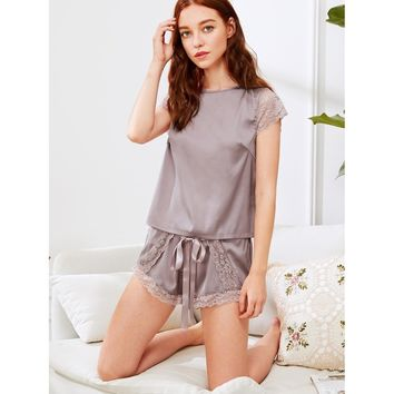 Purple Lace Insert Knot Top And Shorts Pj Set