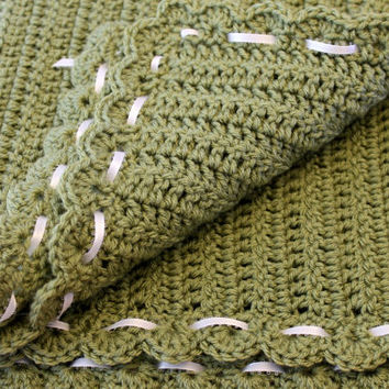 Crochet Green Baby Blanket/Afghan with Shell Edging and Ribbon Detail