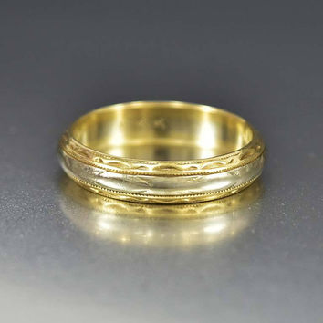 Art Deco Two Tone 14K Gold Wedding Band Ring