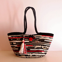 Black n' White Basket Bag, Black and White with a touch of Red, BohoChic Bag, Handmade B&W Bag