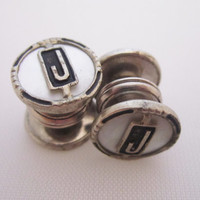 Vintage Cufflinks Snap Cuff Links Art Deco Jewelry Men's Jewelry Gifts for Him Initial J Personalized Kum a Part