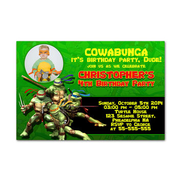 Ninja Turtle Ready to Fight Kids Birthday Invitation Party Design