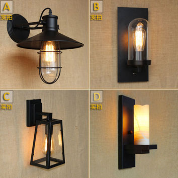 American Loft Iron Wall Lamp Vintage Wall Light Bedroom Bar Coffee Decoration Light Industrial Lamps Retro Industrial Bathroom