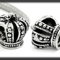PRINCESS Studded Crown for SPECiAL Little GiRL - Great Quality - ANTiQUE Silver Plated Charm Bead - fits EUROPEAN Bracelets - PS