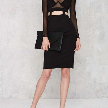 See Thru Me Mesh Top Midi Bodycon Dress with Faux Suspenders