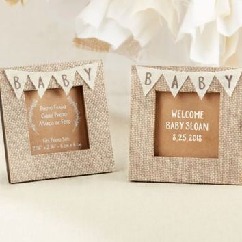 Rustic Baby Burlap Frame 3 1/2in x 3 1/2in | Party City