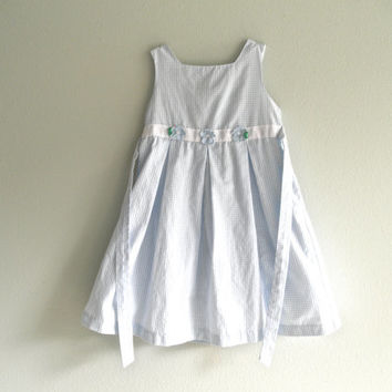 Blue and White Gingham Little Girls Dresses Summer Dresses Pleated Dress Girls Dress Size Six