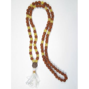 Mogul Japa Mala Necklace Siddhi Jewels Rudraksha Yellow Jade Prayer Yoga Beads - Walmart.com