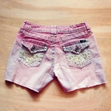 Upcycled Denim Neon Glow Dip Dye Shorts -  Size 3