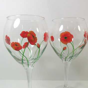 Poppy Balloon Wine Glasses Hand Painted Set of by PaintingByElaine