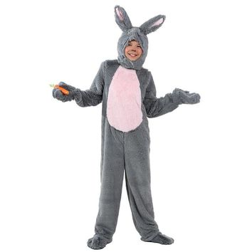 Child Grey Bunny Costume Cosplay Halloween For Kids Bodysuits Animal Winter Warm Rabbit Clothing