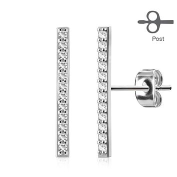 Pair of Micro CZ Paved Long Bar 316L Surgical Steel Post WildKlass Earring Studs