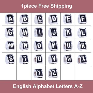 "1Piece Antique Silver English Alphabet Letters ""A"" to ""Z"" Beads DIY Charms Fit Pandora"