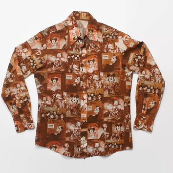 Vintage 70s MICKEY Mouse SHIRT / 1970s Men's Classical Paintings Disco Shirt L