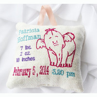 Personalised birth Announcement Pillow, New Baby Pillow , New born Pillow Custom embroidery , Elefant Baby Pillow