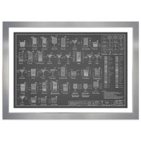 Happy Hour Drinks Recipe Chart with Silver Frame