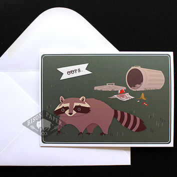 Oops, Funny Illustrated Raccoon Apology Card