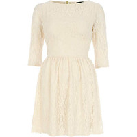 Cream lace mini skater dress
