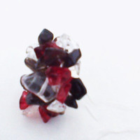 Deep Ruby Red Black And Clear Glass Semi Precious Stones On An Adjustable  925 Sterling Silver Ring. Makes An Ideal Gift For Many Occasions.
