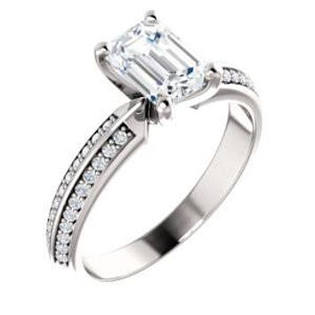 Cubic Zirconia Engagement Ring-*Clearance* The Layla (1.5 Carat Emerald Cut Design with Segmented Double-Pavé Band in Platinum)
