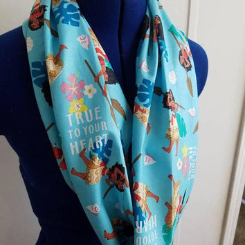 gift - for - her - disney - princess - Moana - hawaii - single  - loop - scarf