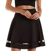 Mesh Cut-Out Skater Skirt by Charlotte Russe
