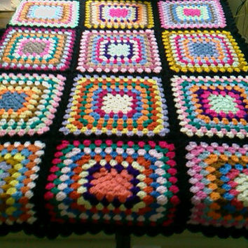 CROCHET BLANKET Handmade -  Made in tradition granny multi colour style with black border Cuddle Blanket (nannycheryl original)  770