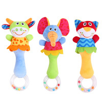 Baby Rattle Toys Animal Hand Bells Plush Toy Baby Music Rattle for Kid Bed and Stroller
